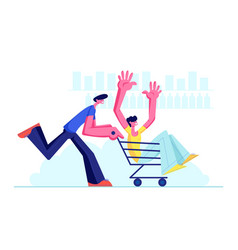 Couple teenagers in supermarket riding trolley vector