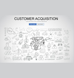 Customer acquisition concept with business doodle vector