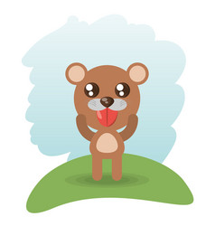 Cute bear animal wildlife vector