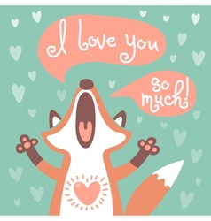 Cute fox confesses his love vector image