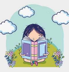 cute girl reading a book cartoon vector image
