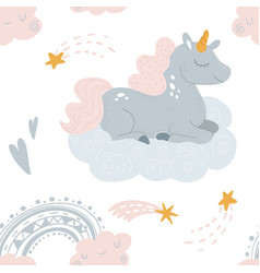 cute unicorn sleeping at cloud in hat vector image