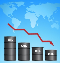 Decreasing price of oil with world map background vector