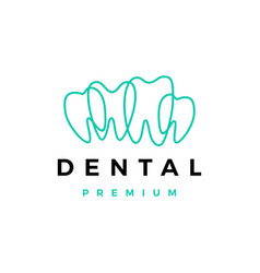 dental tooth teeth outline logo icon vector image