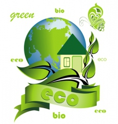 ecology background with ecological home vector image