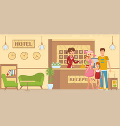 family accommodated in hotel vector image