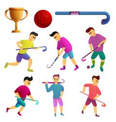 Field hockey icons set cartoon style vector