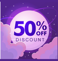 fifty percent discount numbers against the night vector image