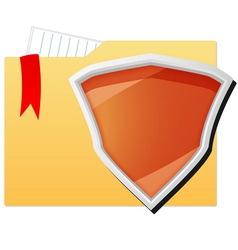 File folder protected by orange shield vector image