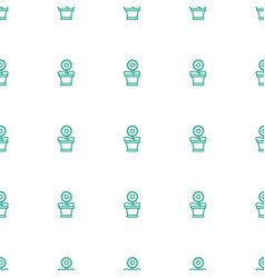 flower pot icon pattern seamless white background vector image