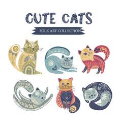 folk art cat set vector image