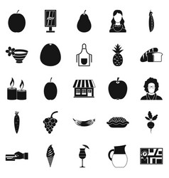 fruit cafe icons set simple style vector image