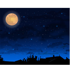 Full moon night skt background halloween vector