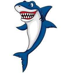 Funny shark cartoon vector image