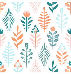 geometric seamless pattern with flower and plant vector image