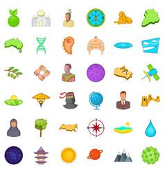 Good world icons set cartoon style vector