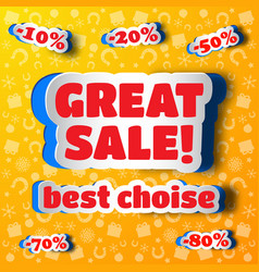 Great sale design concept in paper style vector
