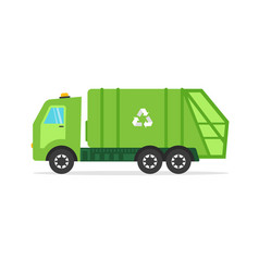 green urban sanitary vehicle garbage truck for vector image