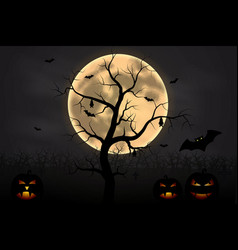 halloween background with tree full moon and pump vector image
