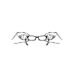 Hand holding eyeglasses optics logo vector