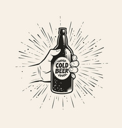 hand with beer bottle pub brewery vintage vector image