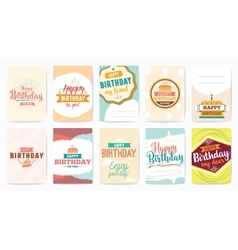 Happy Birthday greeting cards set design vector image