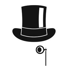 Hat with monocle icon simple style vector image