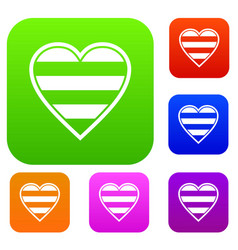 heart lgbt set collection vector image
