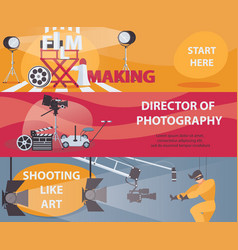 horizontal banners about filming and cinema vector image