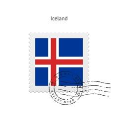 Iceland Flag Postage Stamp vector