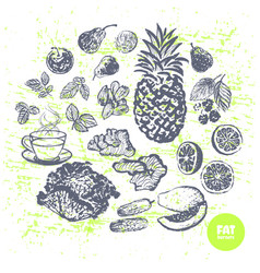 ink hand drawn fat burners fruits and veggies vector image vector image
