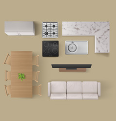 Interior items for living room or kitchen top view vector