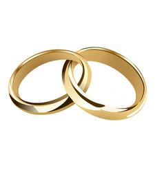Interwined wedding rings vector