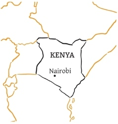Kenya hand-drawn sketch map vector image
