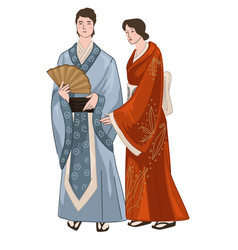 Man and woman wearing japanese kimono clothes vector