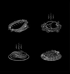 Meat and fish dishes vector