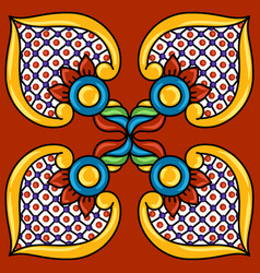 Mexican talavera ceramic tile pattern decoration vector