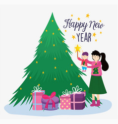 mom and son decorating tree gifts merry christmas vector image