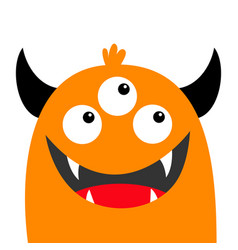 Monster head face orange silhouette three eyes vector