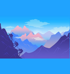 mountaineers climb a mountain active and vector image