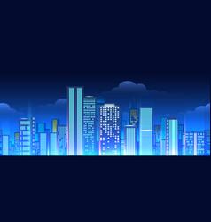 neon lights cityscape seamless pattern vector image