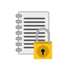 Notebook and safety lock icon vector