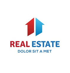 Number one 1 real estate sign logo icon design vector