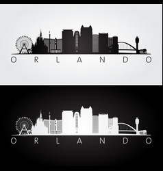 Orlando usa skyline and landmarks silhouette vector