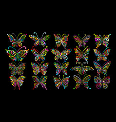 Ornate butterfly collection for your design vector