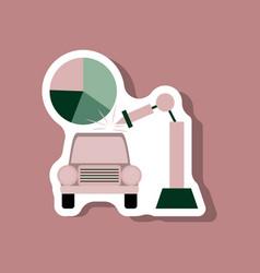 Paper sticker on stylish background automotive vector