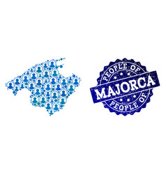 People composition of mosaic map of majorca and vector
