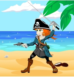pirate girl on beach vector image