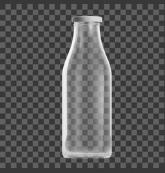 realistic transparent clear empty milk bottle vector image