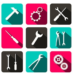 Repair Technology Icons - Web Buttons with Cogs vector